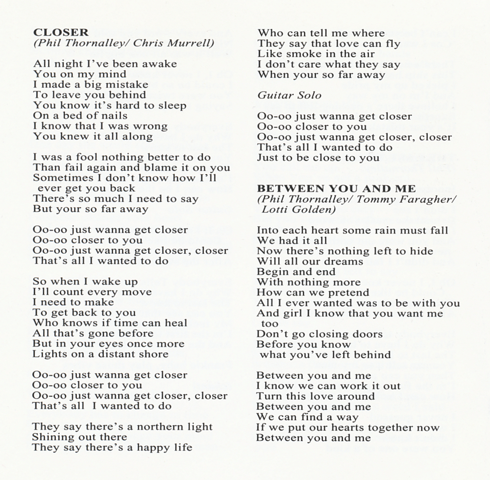Lyrics of closer you and i