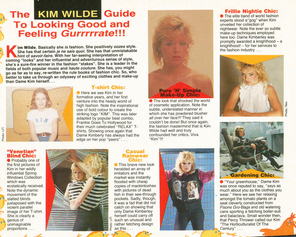 The kim wilde guide to looking good and feeling gurrrrrate for Songs from 1988 uk