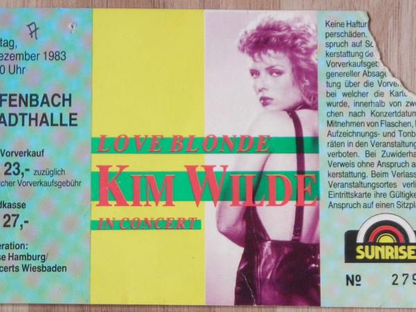 Concert ticket for Kim Wilde live at Stadthalle, Offenbach (Germany), December 5, 1983