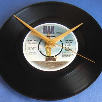 "This clock is available from a seller who has devoted his time to sticking clocks on a variety of 7"" singles. It will set you back £16."