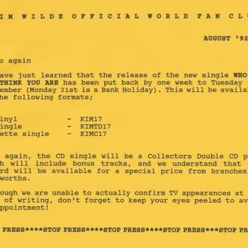 Fanclub Newsletter August 1992