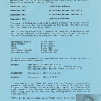 Fanclub Newsletter November 1992
