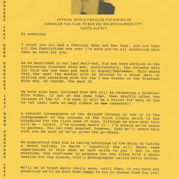 Fanclub Newsletter February 1993