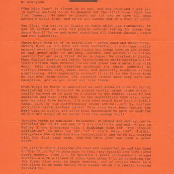 Fanclub Newsletter February 1994