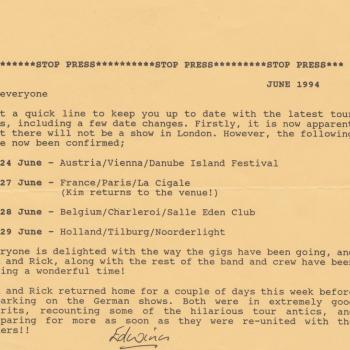 Fanclub Newsletter June 1994