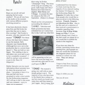 Fanclub Newsletter August 1996