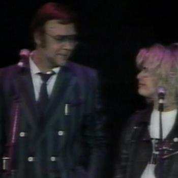 Marty & Kim Wilde during the 'Action for AIDS' concert, April 1, 1987