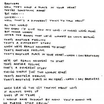 Kim's handwritten lyrics of 'Brothers', from the inner sleeve of the 'Another Step' LP