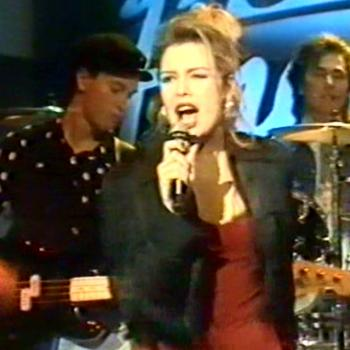 Kim performing on the Dutch TV programme 'Tineke' on December 3, 1988 with Warren Cann on drums