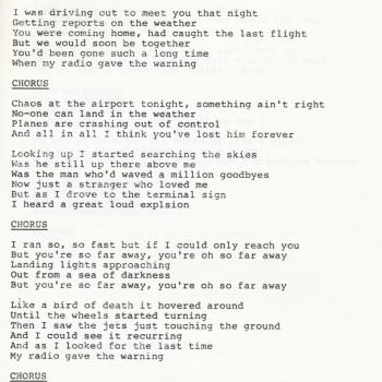 Lyrics of 'Chaos at the airport' in a lyric book for 'Select' published by the Kim Wilde Fanclub in 1985