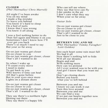 Page 8 of the CD booklet of 'Tall stories', featuring the lyrics of 'Closer'