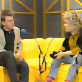 Kim interviewing Anton Corbijn in Oxford Road Show on UK television, 18 January 1985.