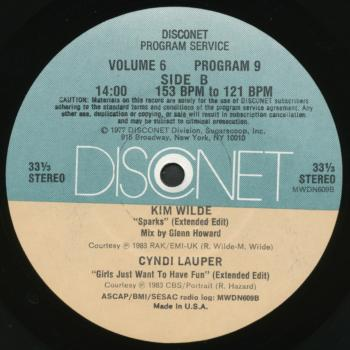 "Label of Disconet vol. 6 12"" single featuring Kim Wilde's 'Sparks'"