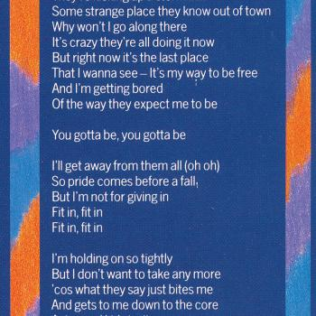 Lyrics of 'Fit in' on the inner sleeve of the LP 'Teases & dares'