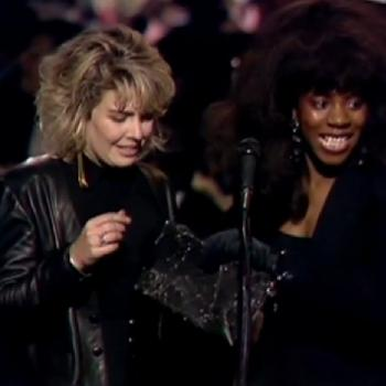 Kim and Jaki Graham during the 1987 Brit Awards, presenting the Best British Group award