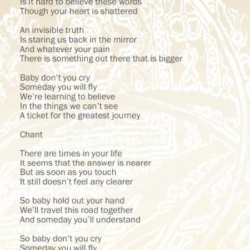 'Greatest journey' lyrics in the cd booklet of 'Come out and play'