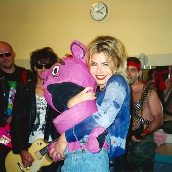 Kim Wilde and Green Jelly in the 'Countdown' dressing room, 1993