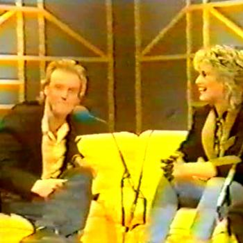 Kim interviewing Glenn Gregory in Oxford Road Show on UK television, January 18, 1985.