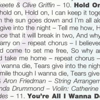 Lyrics of 'Hold on' in the CD booklet of 'Now & forever'