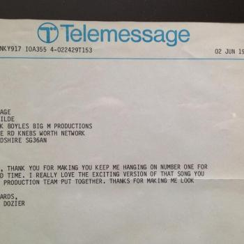 Telemessage from Lamont Dozier to Kim Wilde