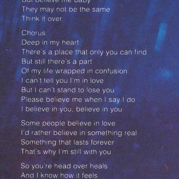 Lyrics of 'I believe in you' on the inner sleeve of the LP 'Love is'