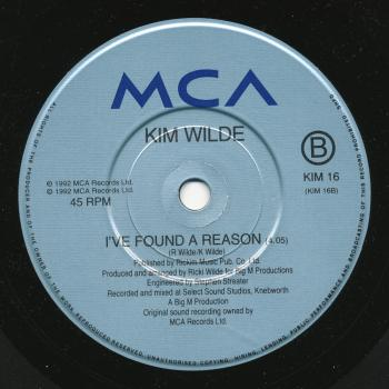 Label for 'I've found a reason' on the B-side of 'Heart over mind' in the UK