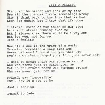 Lyrics of 'Just a Feeling' in a lyric book for 'Select' published by the Kim Wilde Fanclub in 1985