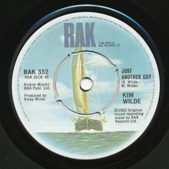 Label for 'Just another guy' on the B-side of 'Child come away' in the UK