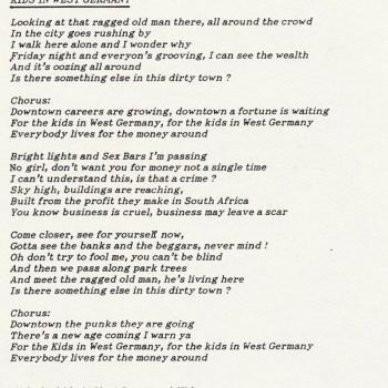 Lyrics of 'Kids in West Germany'