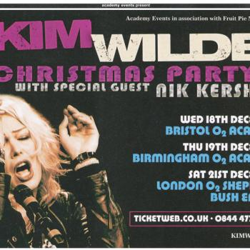 Advert for Kim Wilde's Christmas Party tour