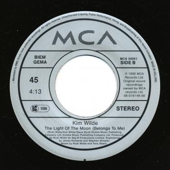"Label for 'Light of the moon (belongs to me)' on the B-side of the 'Million miles away' 7"" single"
