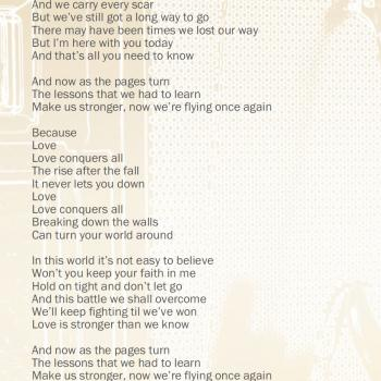 Lyrics of 'Love Conquers All' in the CD booklet of 'Come Out and Play'