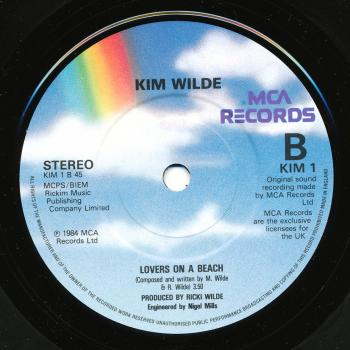 Label for 'Lovers on a beach' on the B-side of 'The second time' in the UK