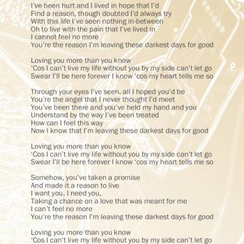 Lyrics of 'Loving you more' in the CD booklet of 'Come out and play'