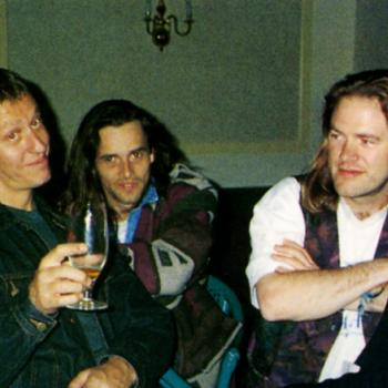 Aileen McLaughlin (left) and the band relaxing backstage in Riga (Latvia), May 1994
