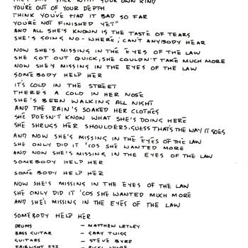 Kim's handwritten lyrics of 'Missing', from the inner sleeve of the 'Another Step' LP