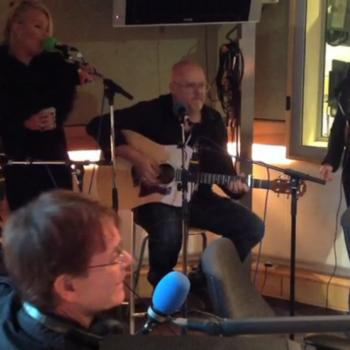 Neil Jones, Kim, Ricky, Scarlett and Cliff Richard performing 'Move it' in the BBC Radio 2 studio