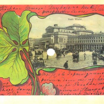 Playable postcard from Poland, featuring 'Our town'. With an image of Teatr Wielki in Warsaw.