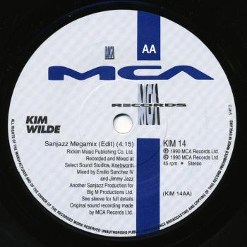 Label for 'Sanjazz Megamix' on the AA-side of 'I can't say goodbye' in the UK