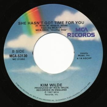 Label for 'She hasn't got time for you' on the B-side of 'Say you really want me' in the USA