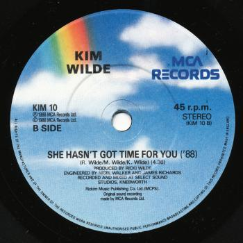 Label for 'She hasn't got time for you '88' on the B-side of 'Four letter word' in the UK