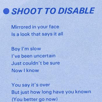Lyrics of 'Shoot to disable' on the inner sleeve of the LP 'Catch as catch can'
