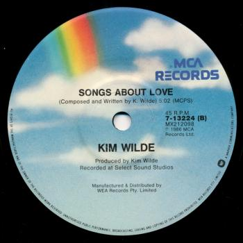 Label for 'Songs about love' on the B-side of 'Schoolgirl'