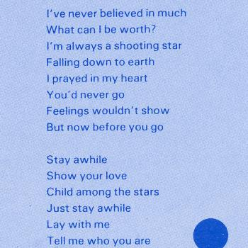 Lyrics of 'Stay awhile' on the inner sleeve of the LP 'Catch as catch can'