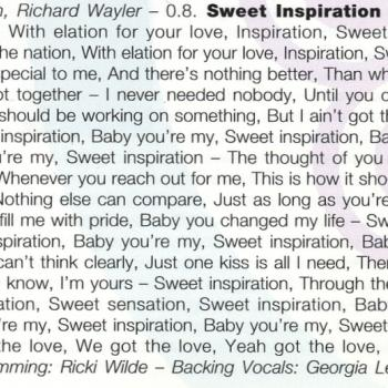 Lyrics of 'Sweet inspiration' in the cd booklet of 'Now & forever'