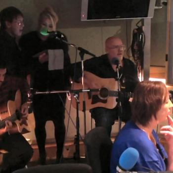 Neil Jones, Kim, Ricky, Scarlett and Cliff Richard performing 'Teenager in love' in the BBC Radio 2 studio