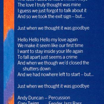 Lyrics of 'Thought It Was Goodbye' on the inner sleeve of the LP 'Teases & Dares'