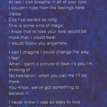Lyrics of 'Touched By Your Magic' on the inner sleeve of the LP 'Love Is'