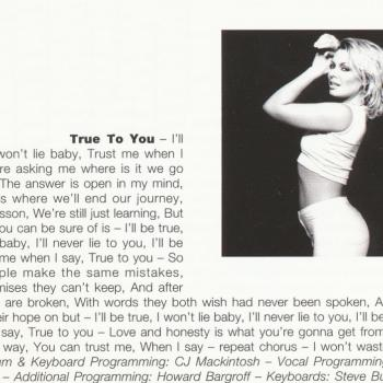 Lyrics of 'True to you' in the cd booklet of 'Now & forever'