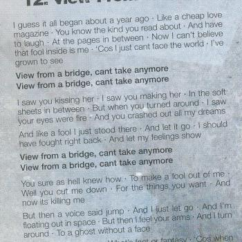 Lyrics of 'View from a bridge (2006)' in the cd booklet of 'Never say never'